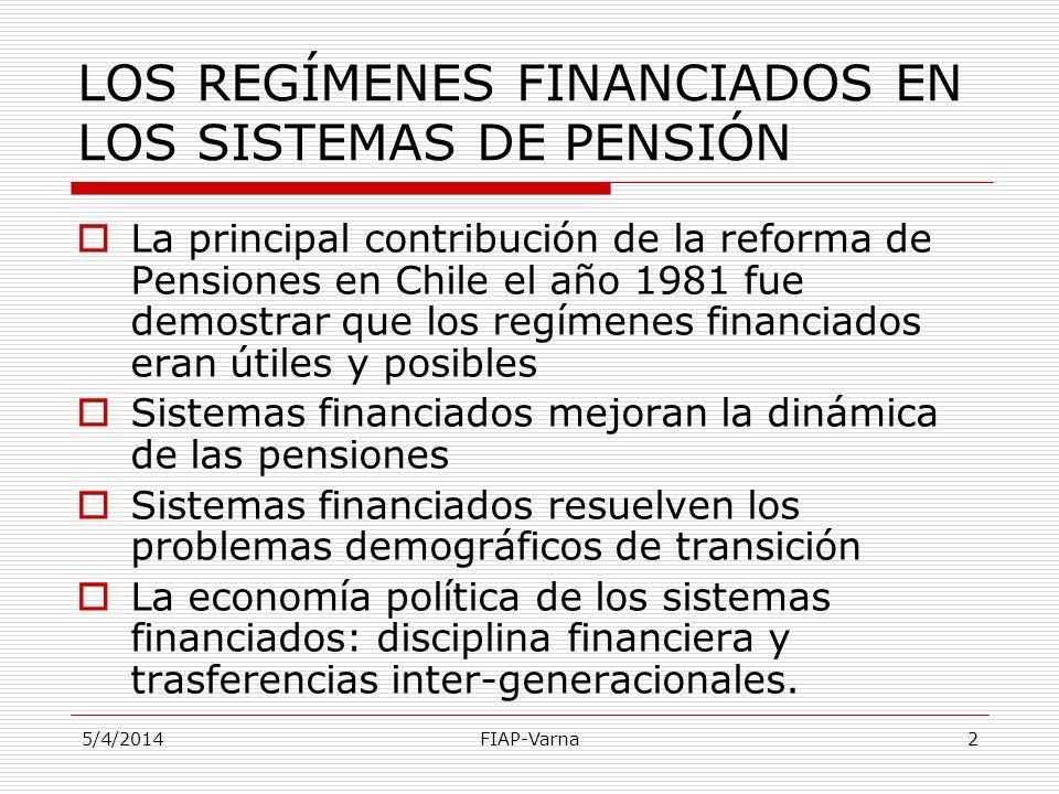 5/4/2014FIAP-Varna2 LOS REGÍMENES FINANCIADOS EN LOS SISTEMAS DE PENSIÓN La principal contribución de la reforma de Pensiones en Chile el año 1981 fue