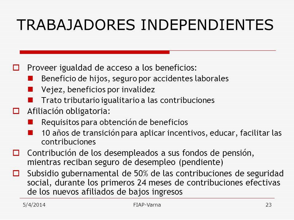 5/4/2014FIAP-Varna23 TRABAJADORES INDEPENDIENTES Proveer igualdad de acceso a los beneficios: Beneficio de hijos, seguro por accidentes laborales Veje