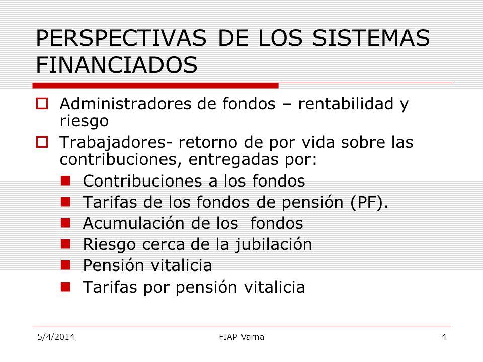 5/4/2014FIAP-Varna4 PERSPECTIVAS DE LOS SISTEMAS FINANCIADOS Administradores de fondos – rentabilidad y riesgo Trabajadores- retorno de por vida sobre