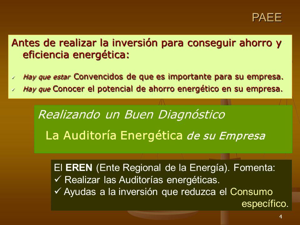 4 Antes de realizar la inversión para conseguir ahorro y eficiencia energética: Hay que estar Convencidos de que es importante para su empresa. Hay qu