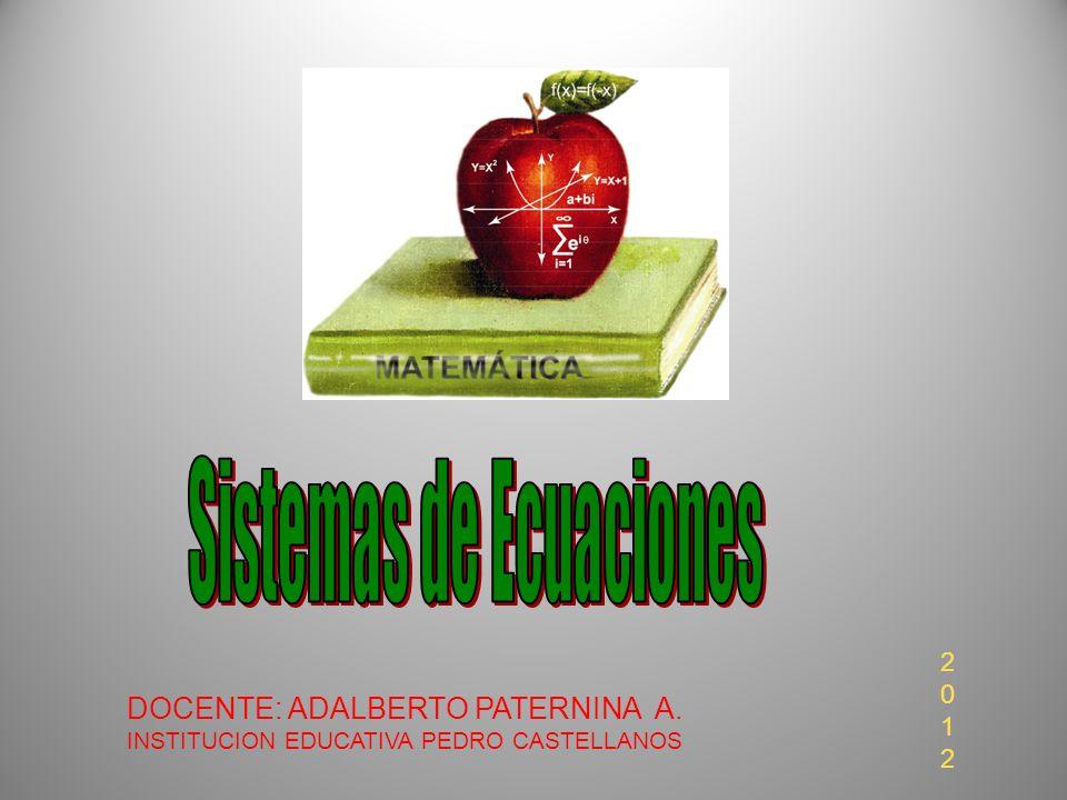 DOCENTE: ADALBERTO PATERNINA A. INSTITUCION EDUCATIVA PEDRO CASTELLANOS 20122012