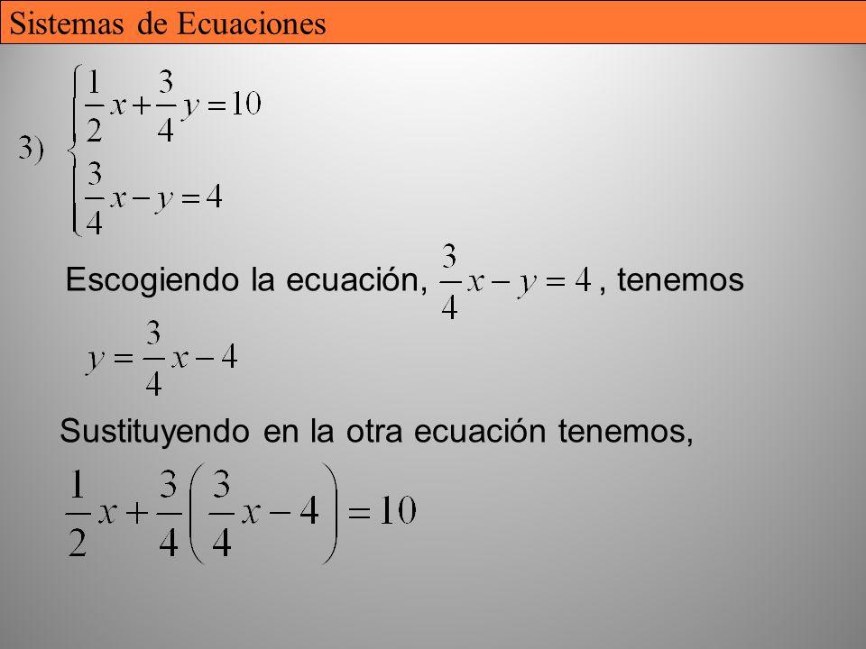 23 Escogiendo la ecuación,, tenemos Sustituyendo en la otra ecuación tenemos, Sistemas de Ecuaciones