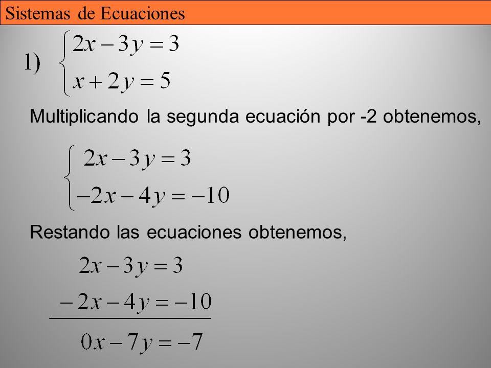 26 Multiplicando la segunda ecuación por -2 obtenemos, Restando las ecuaciones obtenemos, Sistemas de Ecuaciones