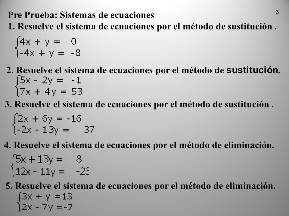 3 Pre Prueba: Sistemas de ecuaciones 1. Resuelve el sistema de ecuaciones por el método de sustitución. Pre Prueba: Sistemas de ecuaciones 1. Resuelve