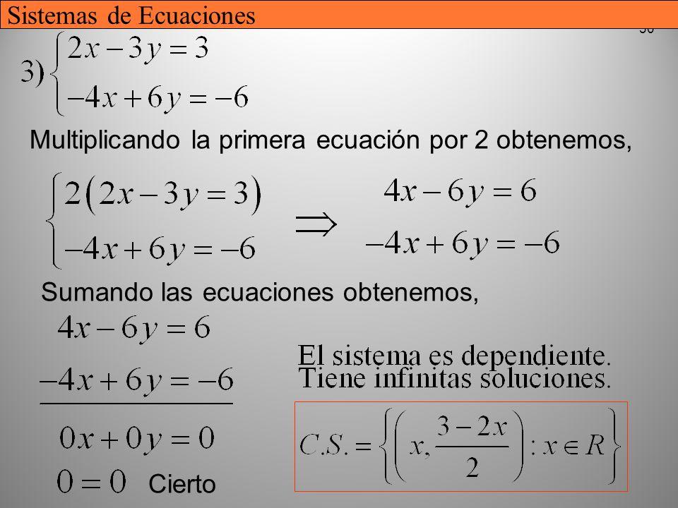 30 Multiplicando la primera ecuación por 2 obtenemos, Sumando las ecuaciones obtenemos, Cierto Sistemas de Ecuaciones