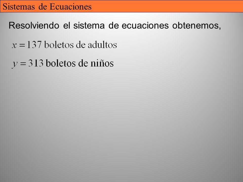 32 Resolviendo el sistema de ecuaciones obtenemos, Sistemas de Ecuaciones