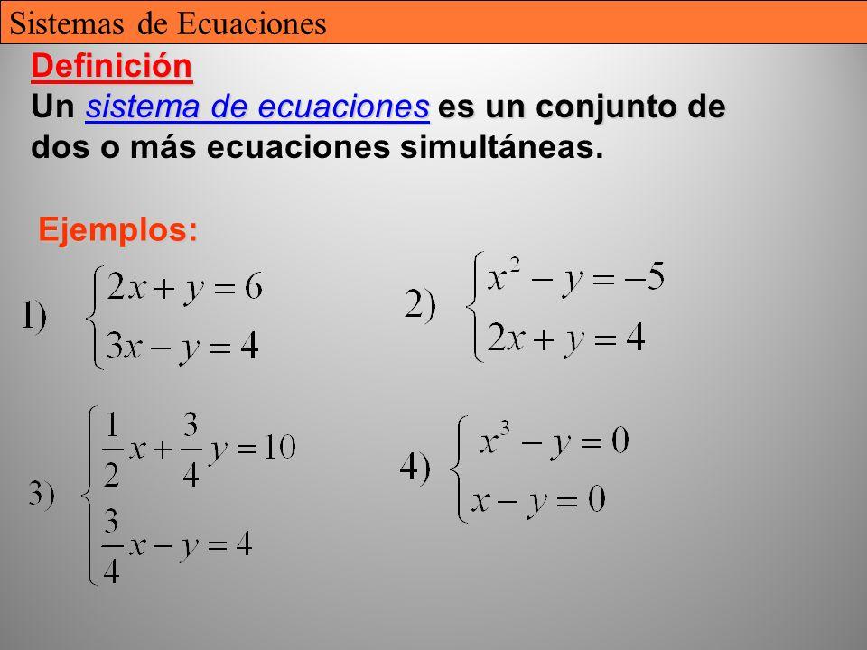 6 Definición Un sistema de ecuaciones ecuaciones es un conjunto de dos o más ecuaciones simultáneas. Ejemplos: Sistemas de Ecuaciones
