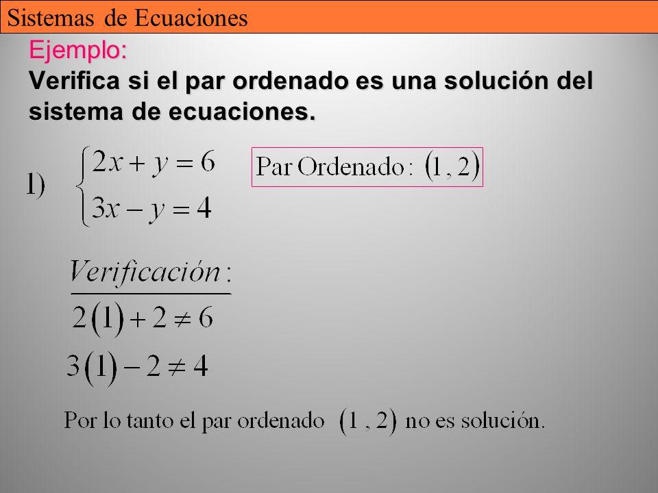 9 Ejemplo: Verifica si el par ordenado es una solución del sistema de ecuaciones. Sistemas de Ecuaciones