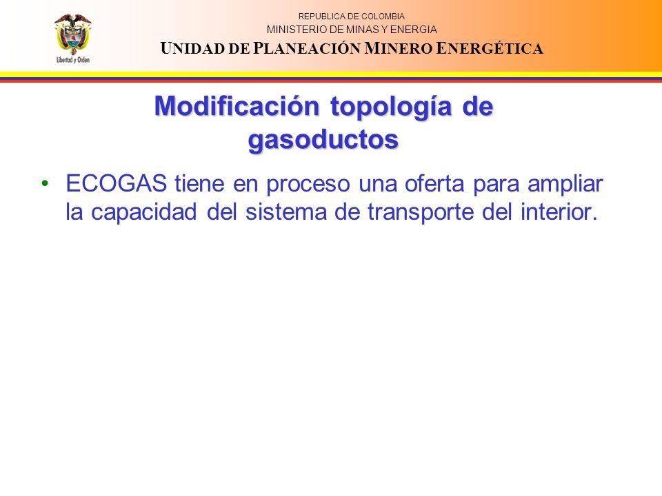 REPUBLICA DE COLOMBIA MINISTERIO DE MINAS Y ENERGIA U NIDAD DE P LANEACIÓN M INERO E NERGÉTICA Modificación topología de gasoductos ECOGAS tiene en proceso una oferta para ampliar la capacidad del sistema de transporte del interior.