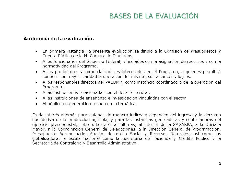 3 3 Audiencia de la evaluación. En primera instancia, la presente evaluación se dirigió a la Comisión de Presupuestos y Cuenta Pública de la H. Cámara