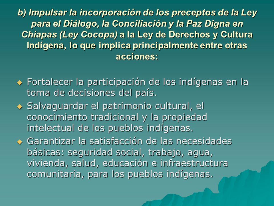b) Impulsar la incorporación de los preceptos de la Ley para el Diálogo, la Conciliación y la Paz Digna en Chiapas (Ley Cocopa) a la Ley de Derechos y Cultura Indígena, lo que implica principalmente entre otras acciones: Fortalecer la participación de los indígenas en la toma de decisiones del país.
