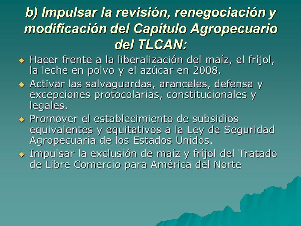 b) Impulsar la revisión, renegociación y modificación del Capitulo Agropecuario del TLCAN: Hacer frente a la liberalización del maíz, el fríjol, la leche en polvo y el azúcar en 2008.
