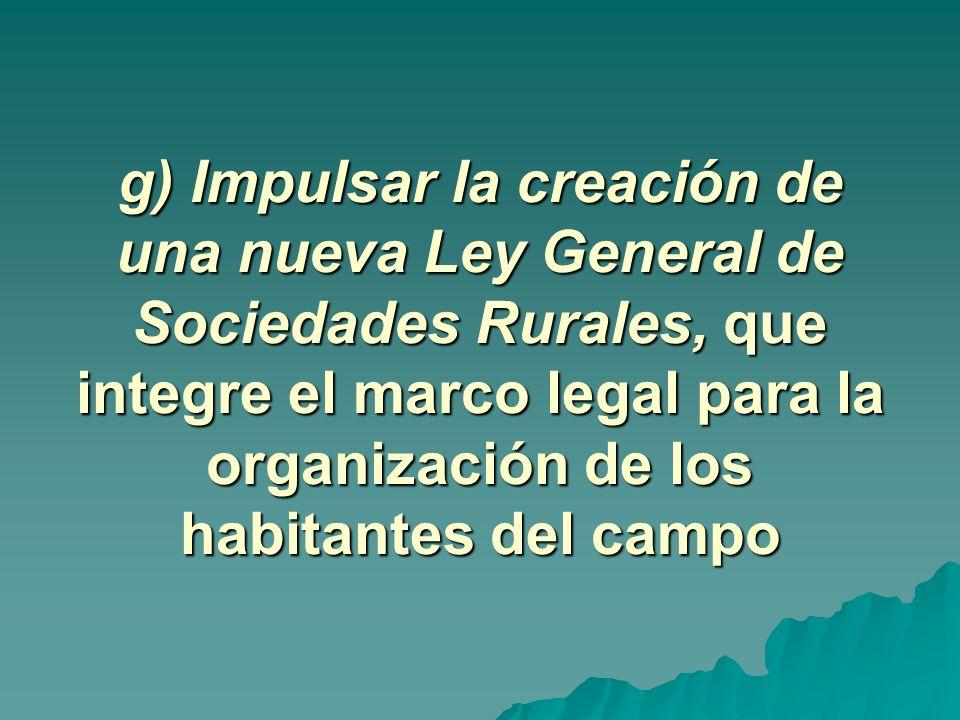 g) Impulsar la creación de una nueva Ley General de Sociedades Rurales, que integre el marco legal para la organización de los habitantes del campo