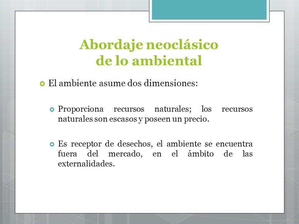 Abordaje neoclásico de lo ambiental El ambiente asume dos dimensiones: Proporciona recursos naturales; los recursos naturales son escasos y poseen un precio.