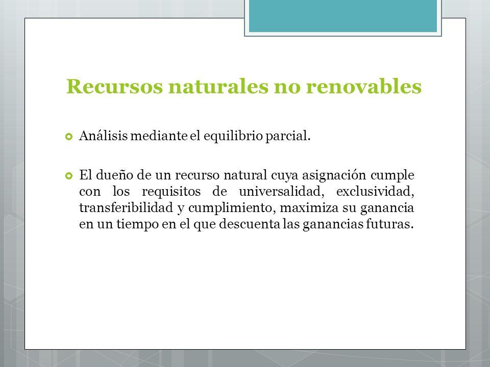 Recursos naturales no renovables Análisis mediante el equilibrio parcial.