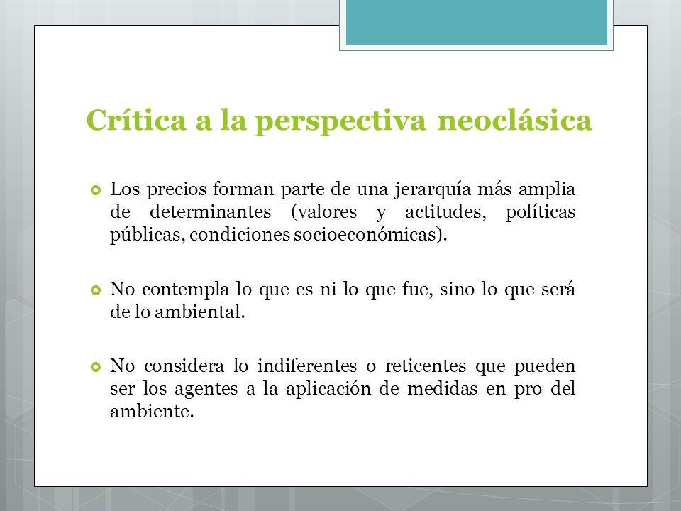 Crítica a la perspectiva neoclásica Los precios forman parte de una jerarquía más amplia de determinantes (valores y actitudes, políticas públicas, condiciones socioeconómicas).