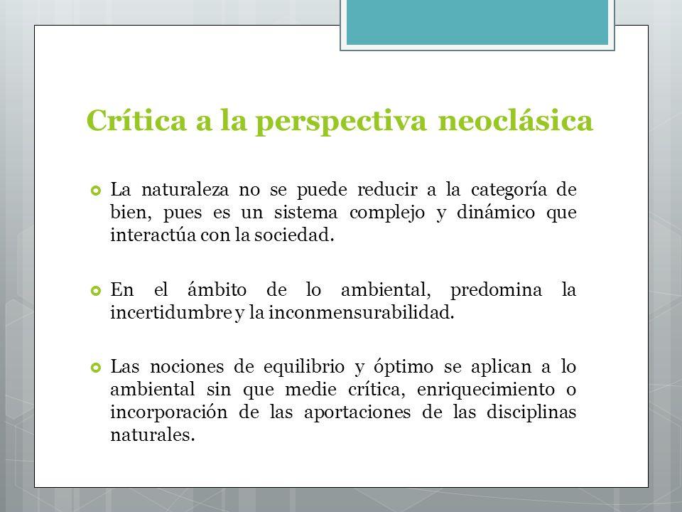Crítica a la perspectiva neoclásica La naturaleza no se puede reducir a la categoría de bien, pues es un sistema complejo y dinámico que interactúa con la sociedad.
