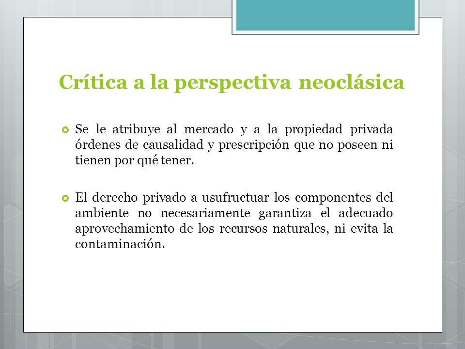 Crítica a la perspectiva neoclásica Se le atribuye al mercado y a la propiedad privada órdenes de causalidad y prescripción que no poseen ni tienen por qué tener.
