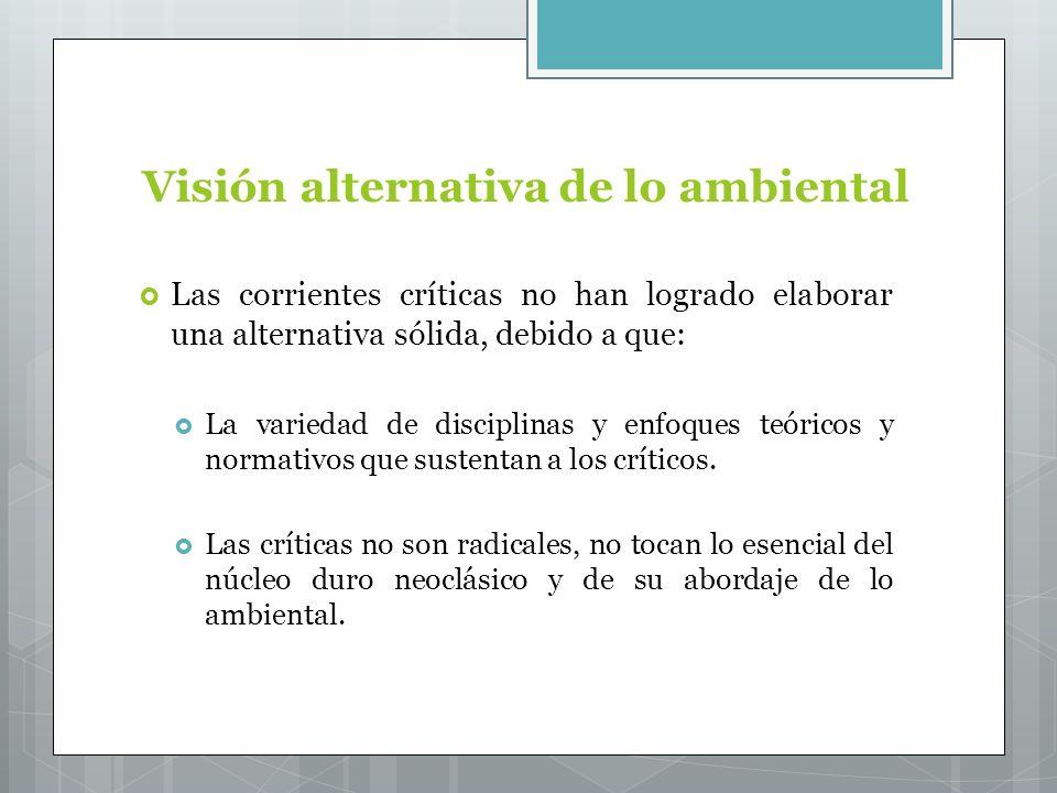 Visión alternativa de lo ambiental Las corrientes críticas no han logrado elaborar una alternativa sólida, debido a que: La variedad de disciplinas y enfoques teóricos y normativos que sustentan a los críticos.