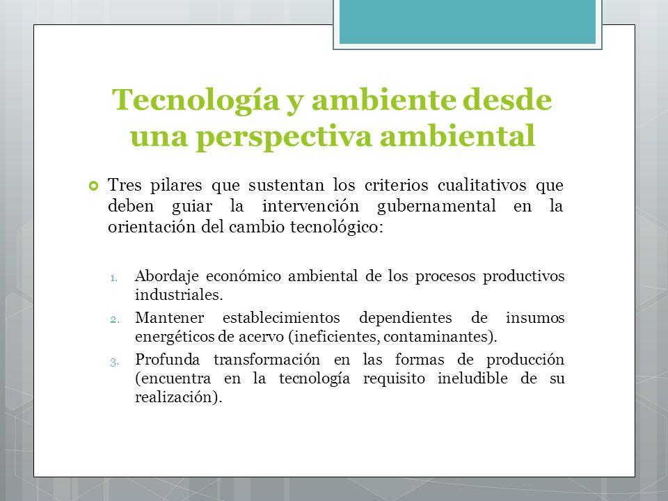 Tecnología y ambiente desde una perspectiva ambiental Tres pilares que sustentan los criterios cualitativos que deben guiar la intervención gubernamental en la orientación del cambio tecnológico: 1.