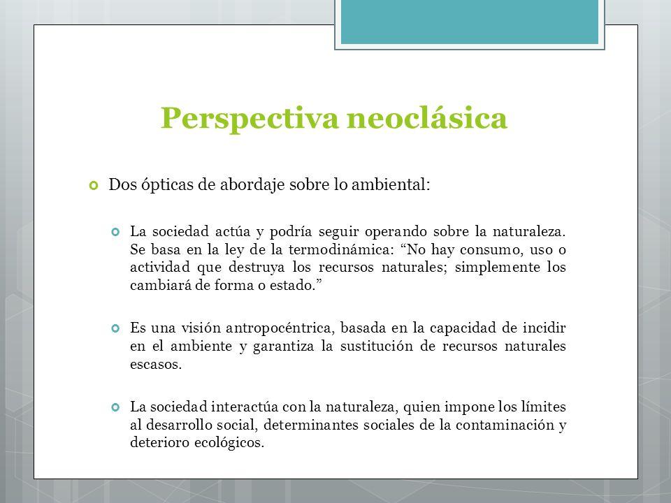Perspectiva neoclásica Dos ópticas de abordaje sobre lo ambiental: La sociedad actúa y podría seguir operando sobre la naturaleza.