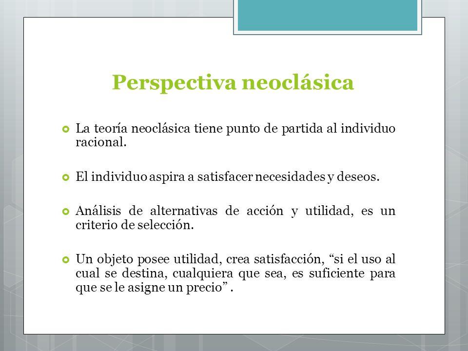 Perspectiva neoclásica La teoría neoclásica tiene punto de partida al individuo racional.