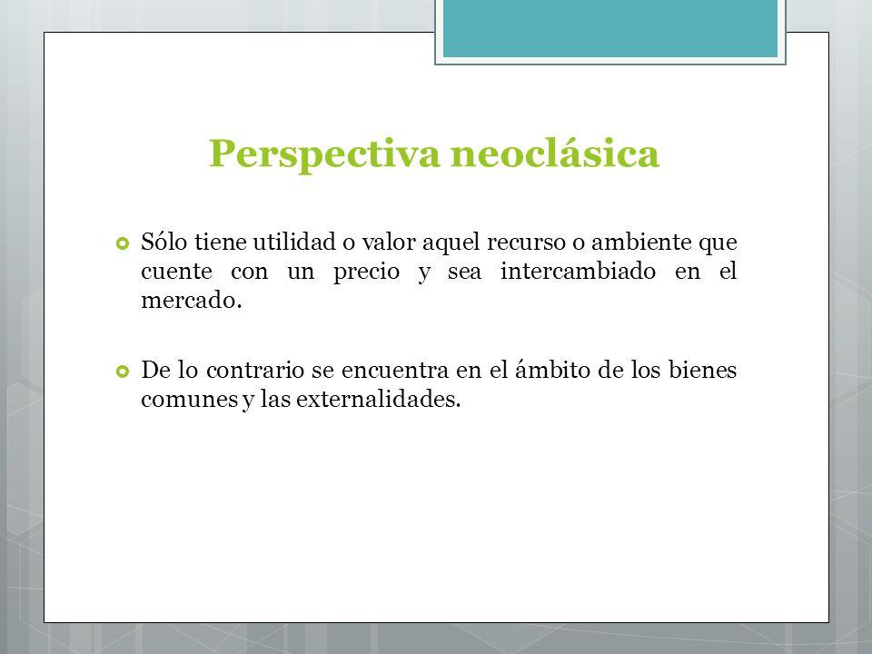 Perspectiva neoclásica Sólo tiene utilidad o valor aquel recurso o ambiente que cuente con un precio y sea intercambiado en el mercado.