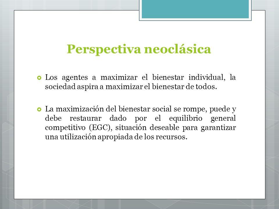 Perspectiva neoclásica Los agentes a maximizar el bienestar individual, la sociedad aspira a maximizar el bienestar de todos.