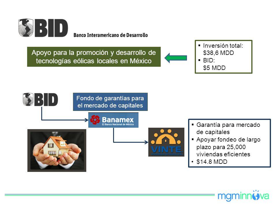Apoyo para la promoción y desarrollo de tecnologías eólicas locales en México Inversión total: $38,6 MDD BID: $5 MDD Garantía para mercado de capitale