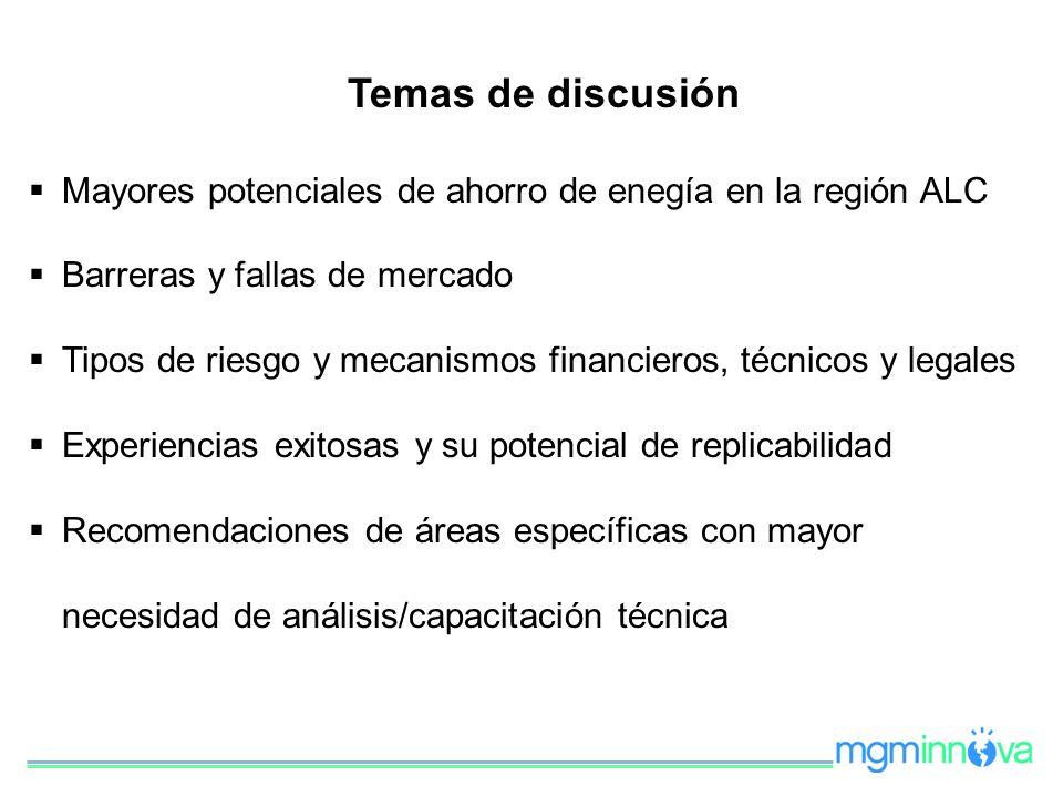 Mayores potenciales de ahorro de enegía en la región ALC Barreras y fallas de mercado Tipos de riesgo y mecanismos financieros, técnicos y legales Exp