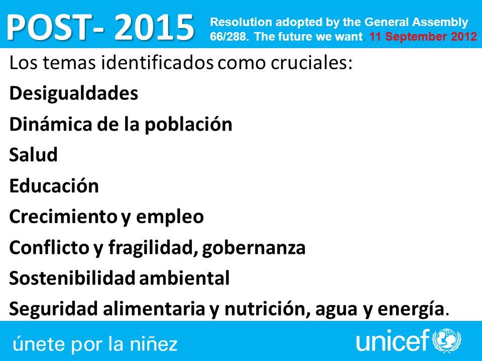 POST- 2015 Los temas identificados como cruciales: Desigualdades Dinámica de la población Salud Educación Crecimiento y empleo Conflicto y fragilidad,