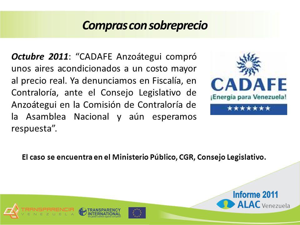 Octubre 2011: CADAFE Anzoátegui compró unos aires acondicionados a un costo mayor al precio real.