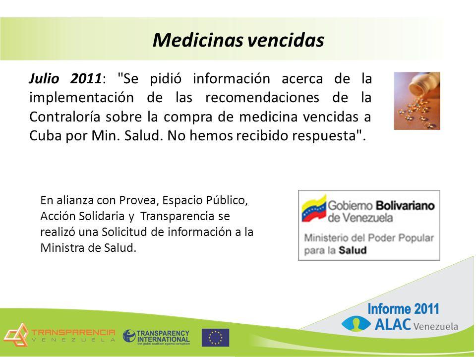 Julio 2011: Se pidió información acerca de la implementación de las recomendaciones de la Contraloría sobre la compra de medicina vencidas a Cuba por Min.