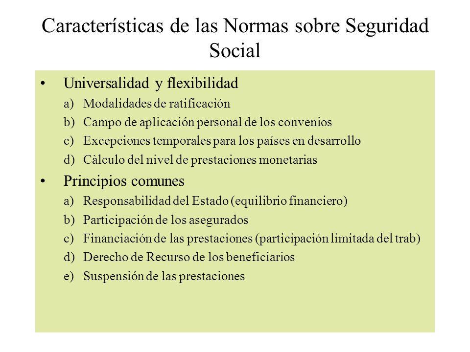 Características de las Normas sobre Seguridad Social Universalidad y flexibilidad a)Modalidades de ratificación b)Campo de aplicación personal de los