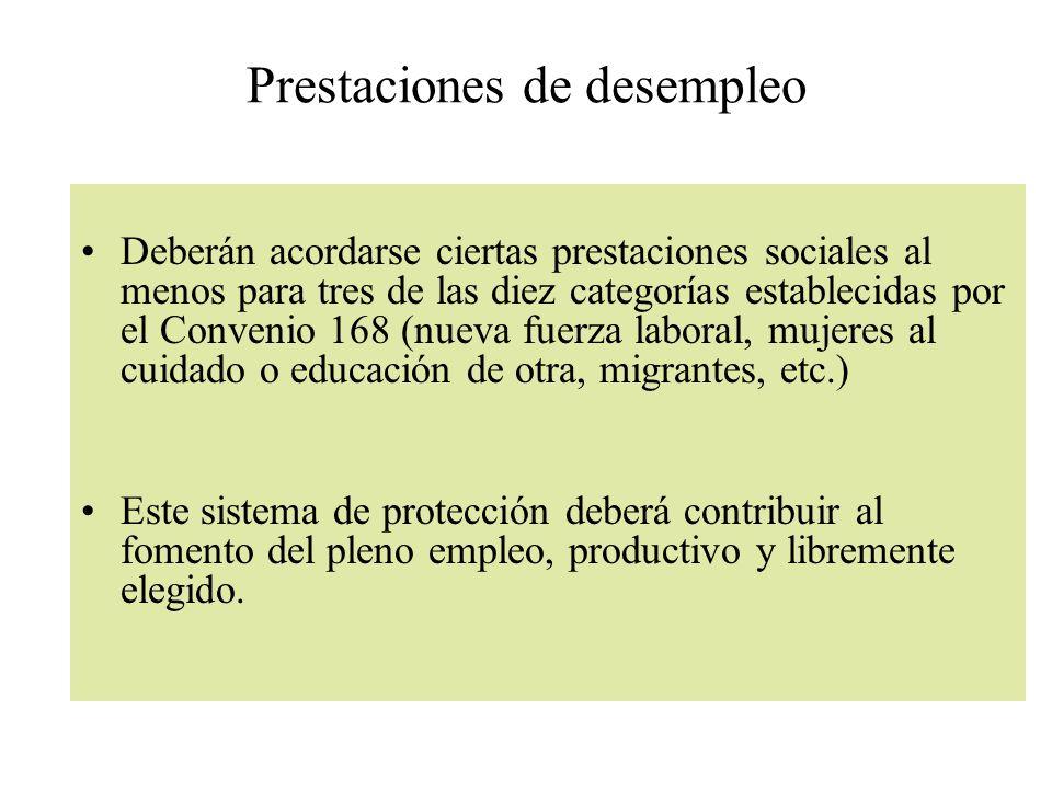 Prestaciones de desempleo Deberán acordarse ciertas prestaciones sociales al menos para tres de las diez categorías establecidas por el Convenio 168 (