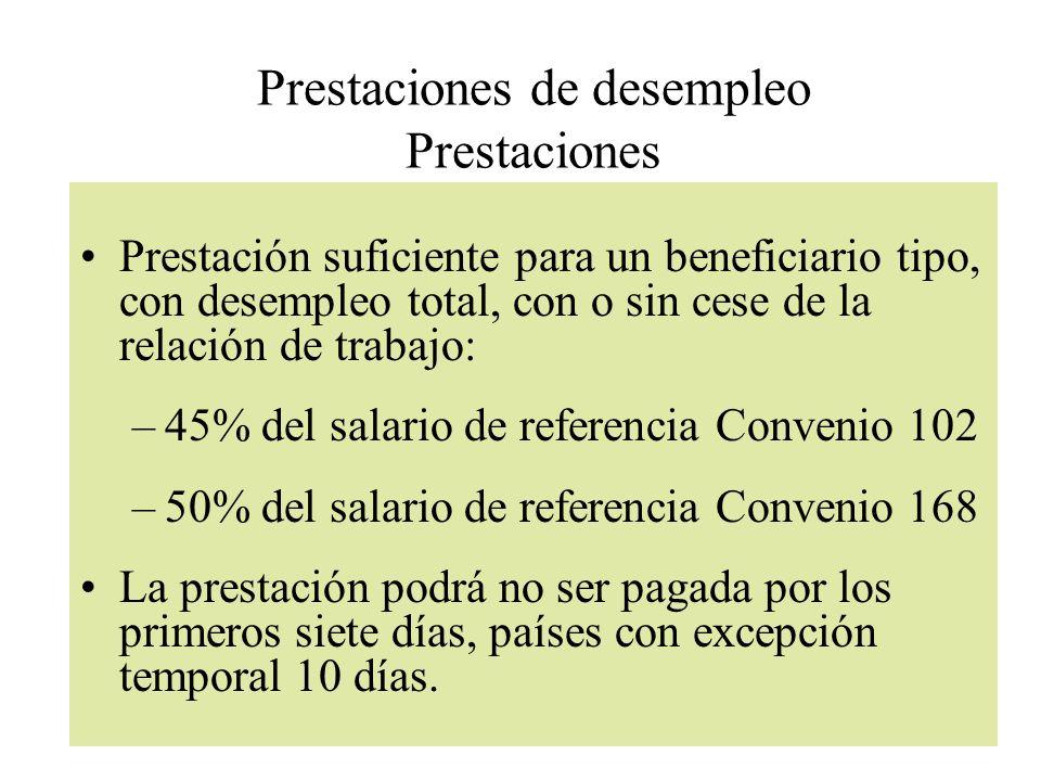 Prestaciones de desempleo Prestaciones Prestación suficiente para un beneficiario tipo, con desempleo total, con o sin cese de la relación de trabajo: