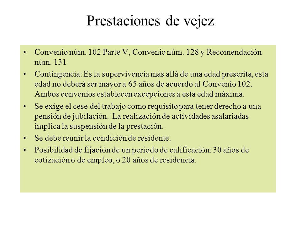 Prestaciones de vejez Convenio núm. 102 Parte V, Convenio núm. 128 y Recomendación núm. 131 Contingencia: Es la supervivencia más allá de una edad pre