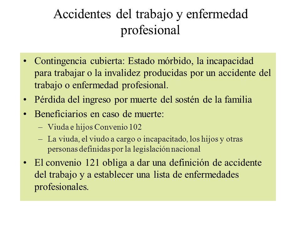 Accidentes del trabajo y enfermedad profesional Contingencia cubierta: Estado mórbido, la incapacidad para trabajar o la invalidez producidas por un a
