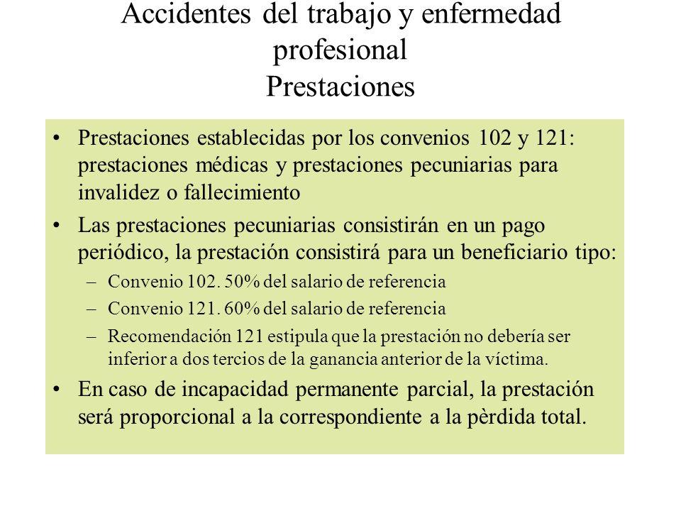 Accidentes del trabajo y enfermedad profesional Prestaciones Prestaciones establecidas por los convenios 102 y 121: prestaciones médicas y prestacione