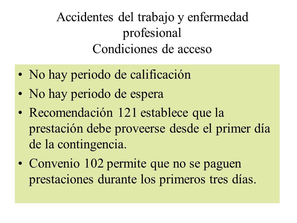 Accidentes del trabajo y enfermedad profesional Condiciones de acceso No hay periodo de calificación No hay periodo de espera Recomendación 121 establ