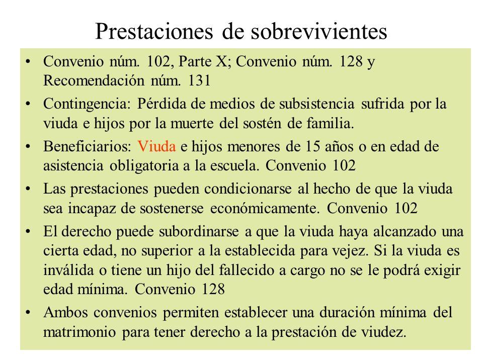 Prestaciones de sobrevivientes Convenio núm. 102, Parte X; Convenio núm. 128 y Recomendación núm. 131 Contingencia: Pérdida de medios de subsistencia