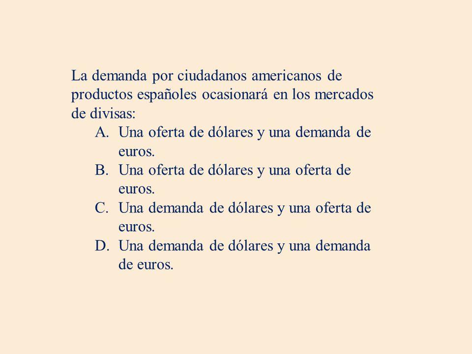 La demanda por ciudadanos americanos de productos españoles ocasionará en los mercados de divisas: A.Una oferta de dólares y una demanda de euros.