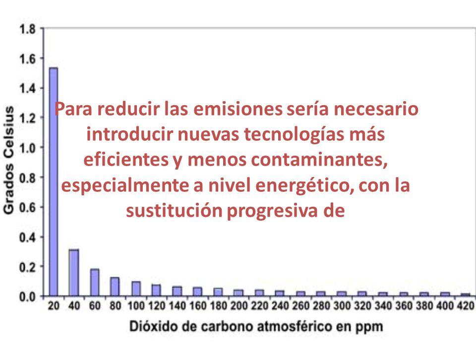 Para reducir las emisiones sería necesario introducir nuevas tecnologías más eficientes y menos contaminantes, especialmente a nivel energético, con l