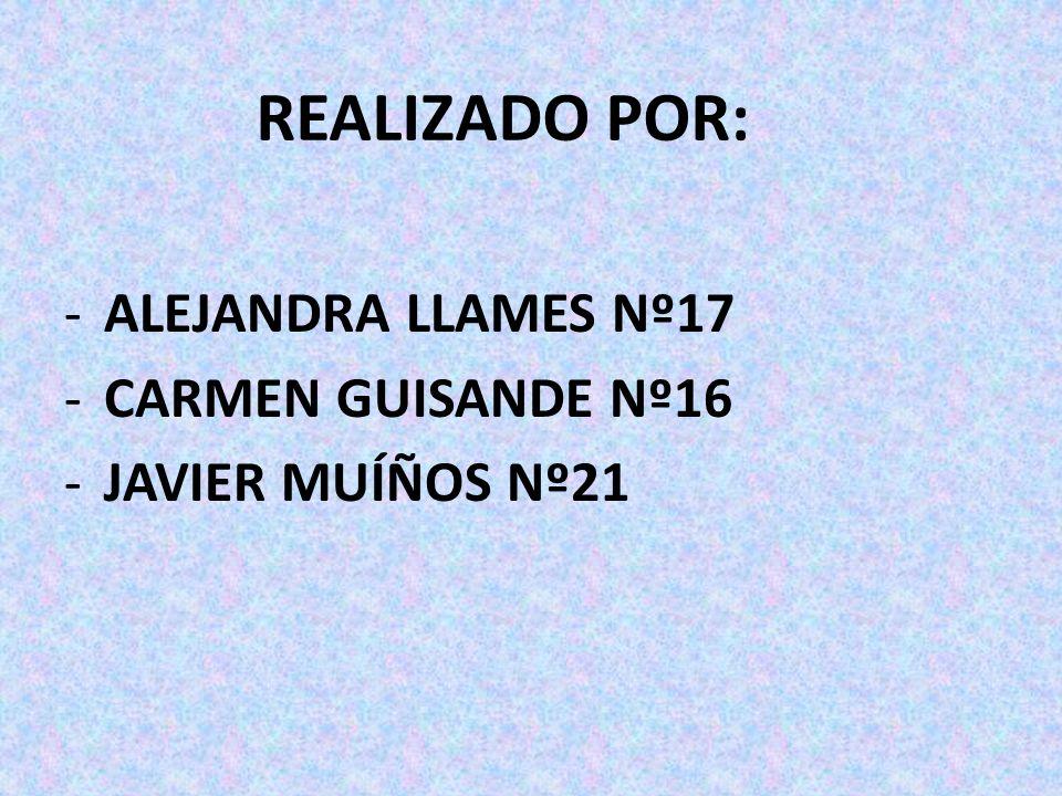 REALIZADO POR: -ALEJANDRA LLAMES Nº17 -CARMEN GUISANDE Nº16 -JAVIER MUÍÑOS Nº21