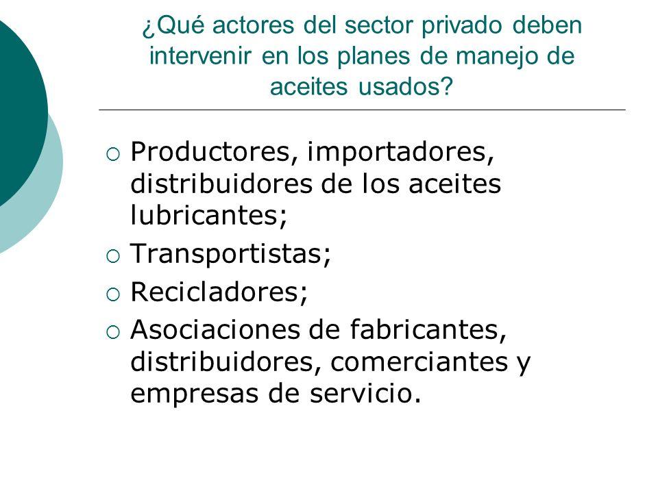 ¿Qué actores del sector privado deben intervenir en los planes de manejo de aceites usados.