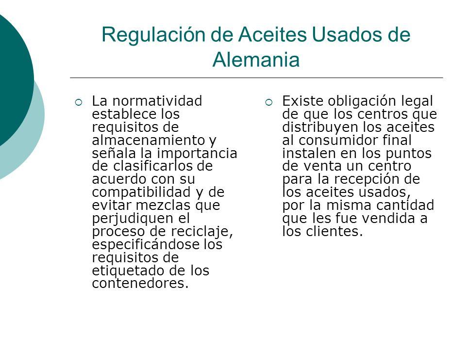 Regulación de Aceites Usados de Alemania La normatividad establece los requisitos de almacenamiento y señala la importancia de clasificarlos de acuerdo con su compatibilidad y de evitar mezclas que perjudiquen el proceso de reciclaje, especificándose los requisitos de etiquetado de los contenedores.
