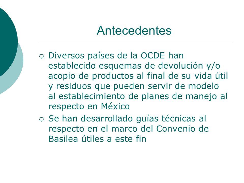 Antecedentes Diversos países de la OCDE han establecido esquemas de devolución y/o acopio de productos al final de su vida útil y residuos que pueden servir de modelo al establecimiento de planes de manejo al respecto en México Se han desarrollado guías técnicas al respecto en el marco del Convenio de Basilea útiles a este fin