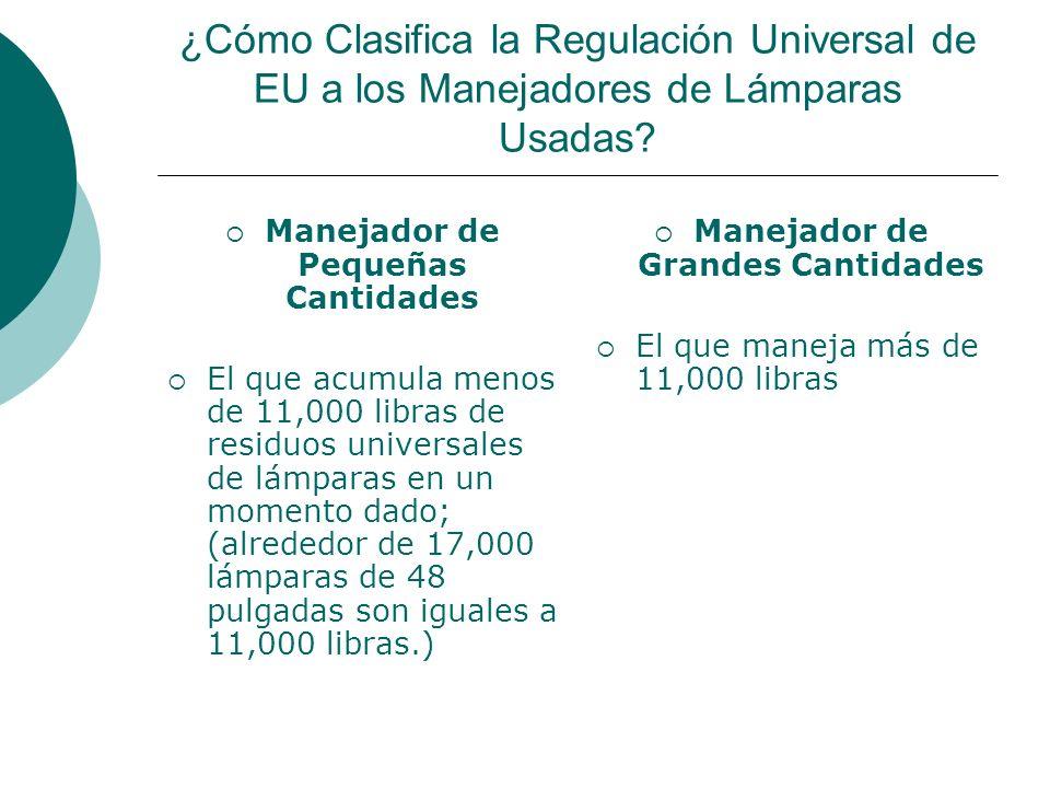 ¿Cómo Clasifica la Regulación Universal de EU a los Manejadores de Lámparas Usadas.