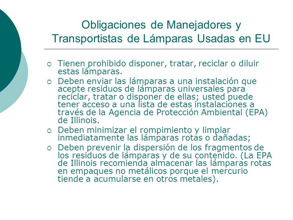 Obligaciones de Manejadores y Transportistas de Lámparas Usadas en EU Tienen prohibido disponer, tratar, reciclar o diluir estas lámparas.