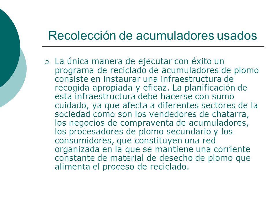 Recolección de acumuladores usados La única manera de ejecutar con éxito un programa de reciclado de acumuladores de plomo consiste en instaurar una infraestructura de recogida apropiada y eficaz.